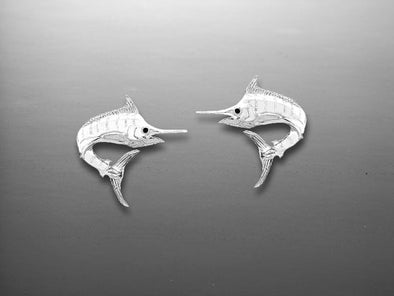 Silver Marlin Stud Earrings