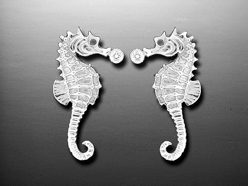 Silver Seahorse Post Earrings