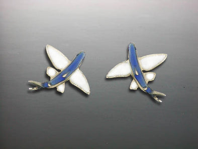 Small Flying Fish Ceramic Earrings
