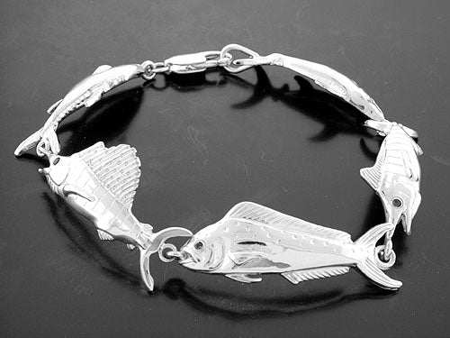 Sterling Silver Mixed Fish Bracelet