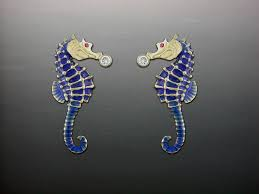 Seahorse Ceramic Color and Diamond Earrings