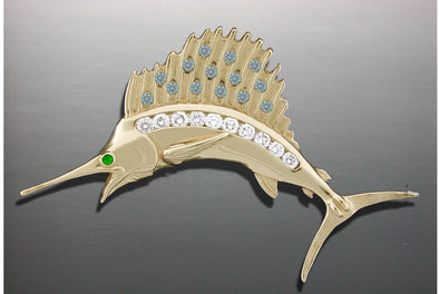 Diamond Sailfish Pendant Half Round
