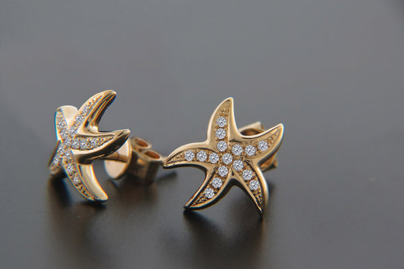 Diamond Starfish Post Earrings