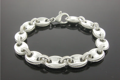 Large Sterling Silver Anchor Chain Bracelet
