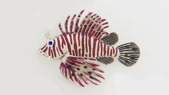 Colored Ceramic Lionfish Pendant