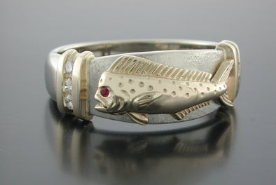Diamond Set Bull Dolphin Platform Ring