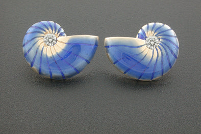 Nautilus Enamel and Diamond Earrings