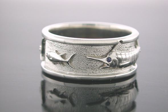 Grand Slam Ring ( Marlin Chasing Bait Fish Shown )