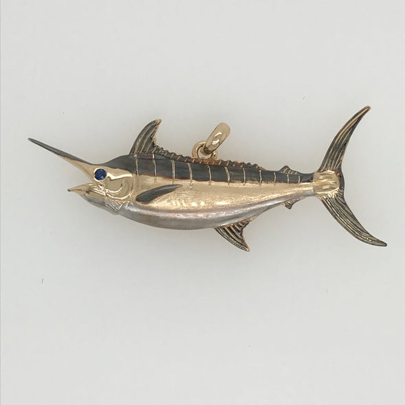 Medium Grander Blue Marlin Pendant with Black and White Rhodium Coloration