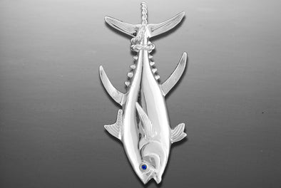 Sterling Silver Tail Wrap Tuna Pendant