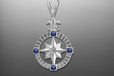 Silver Compass Rose Pendant