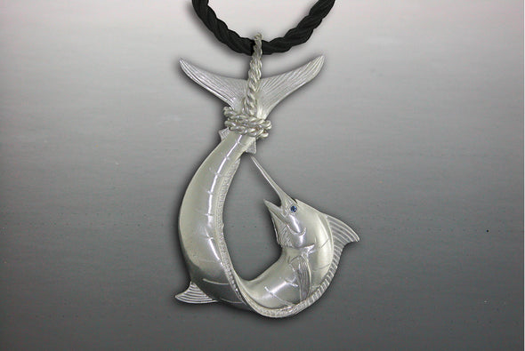 Silver full Marlin Polynesian Hook Tail Wrap Pendant