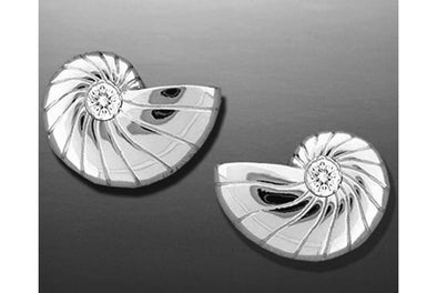 Silver Nautilus Earrings