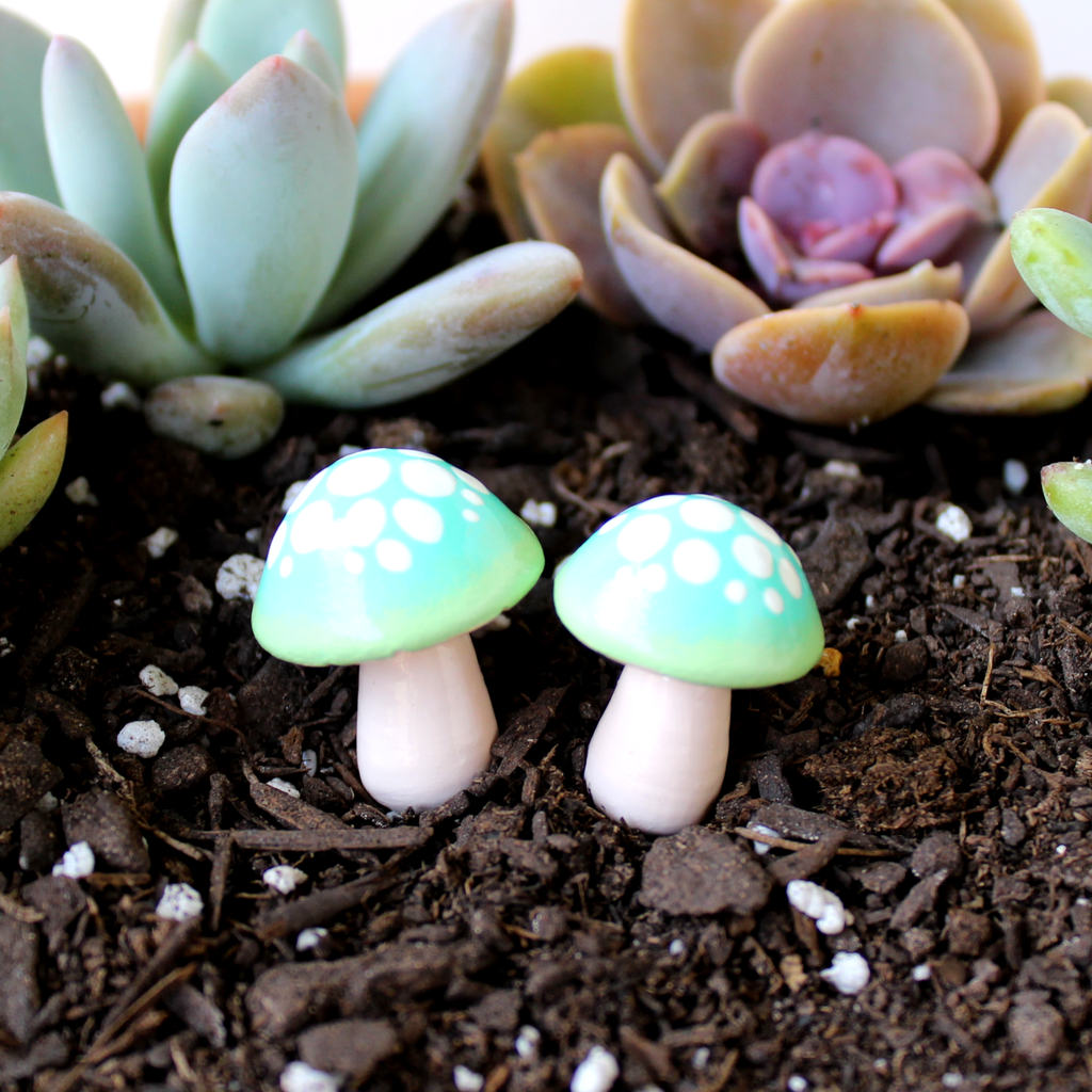 Celadon Ombre Mushrooms (Set of 2)