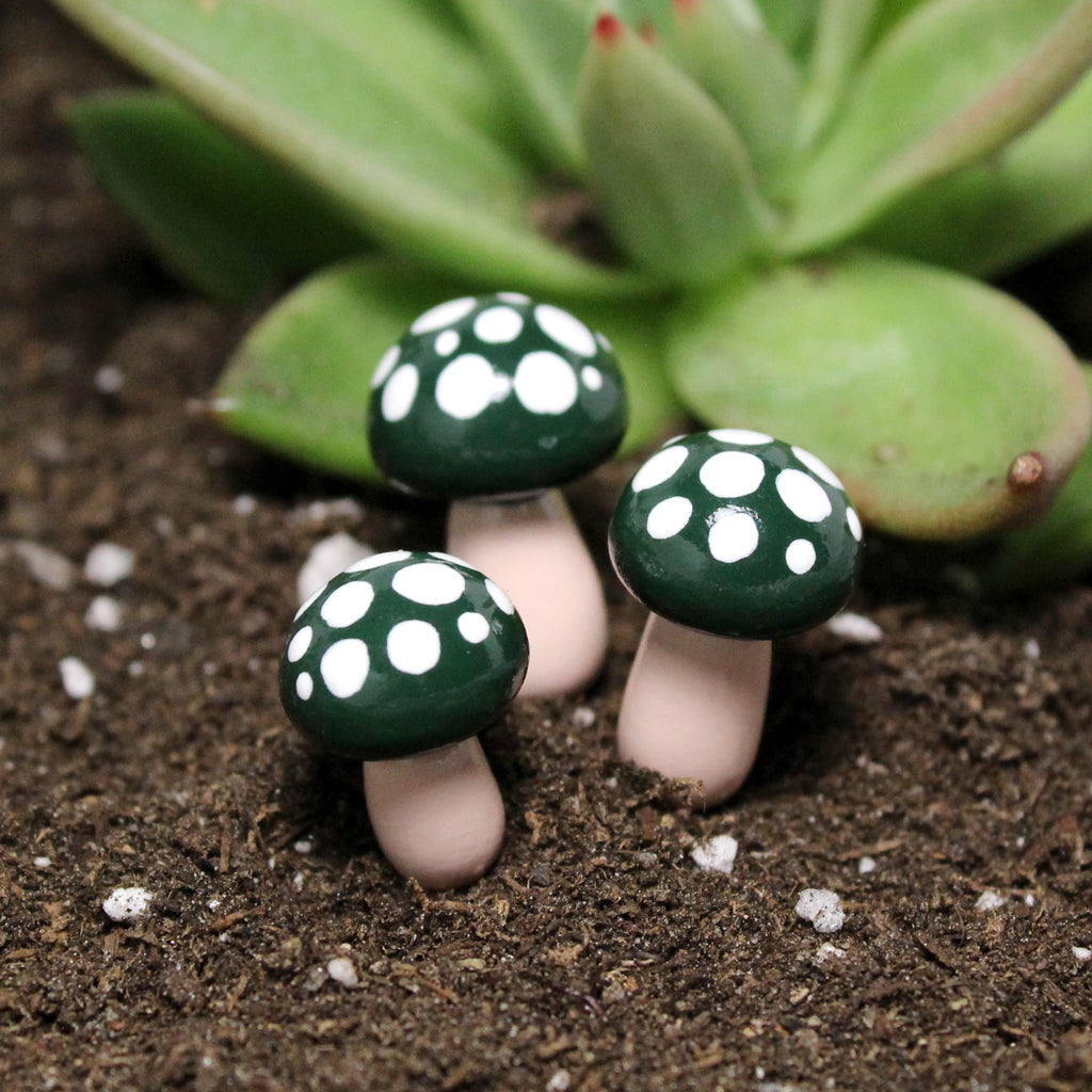 Forest Green Toadstools (Set of 4)