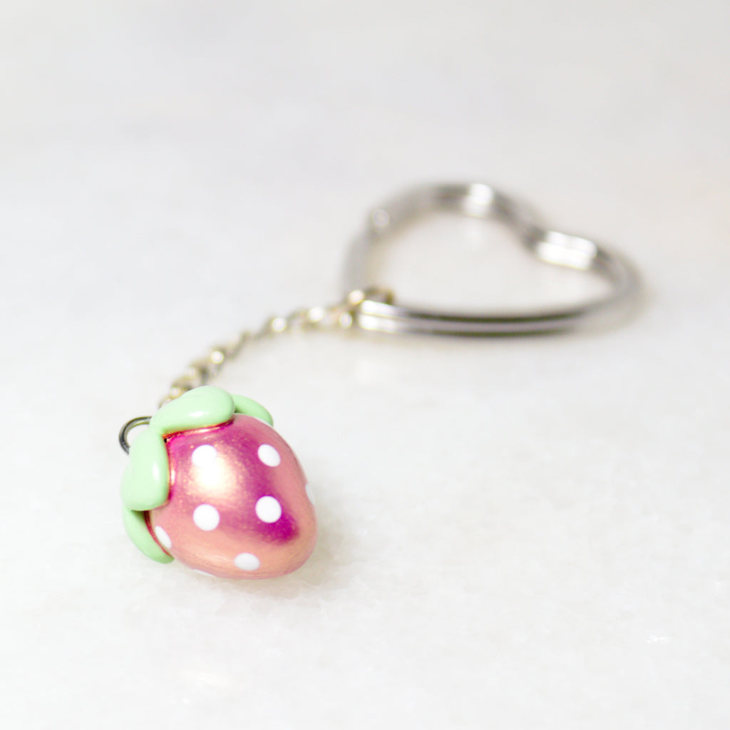 Pink Gold Strawberry Charm