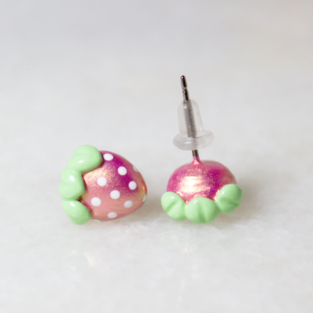 Pink Gold Strawberry Earrings