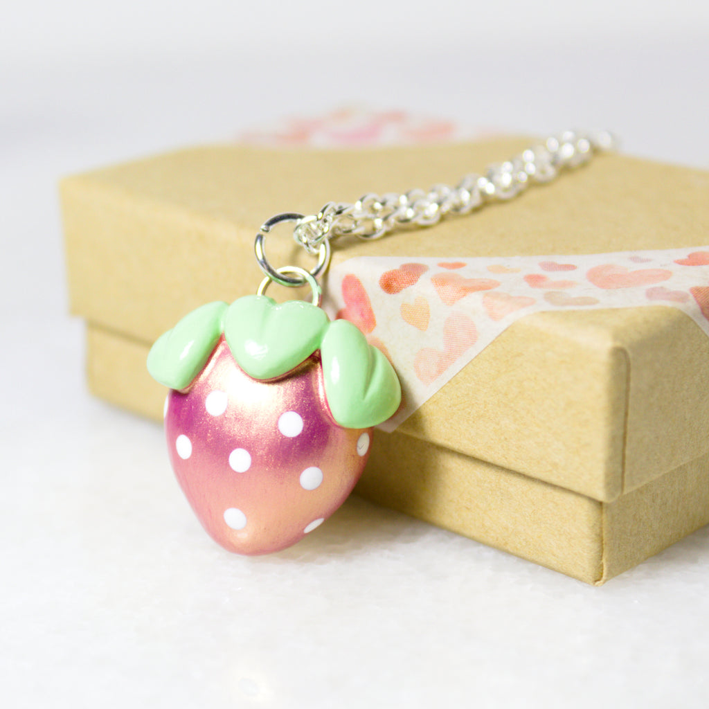 Pink Gold Strawberry Necklace