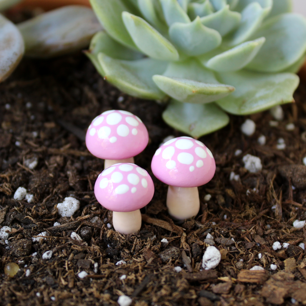 Pink Toadstools (Set of 4)