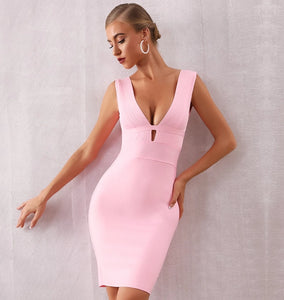 Sexy Hollow Out Deep V Tank Backless Dress