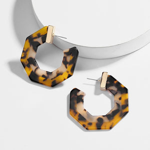 Hexagon Lucite Resin Hoops - Five Colors Available