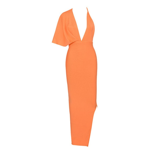 Draped Backless Maxi Bandage Dress