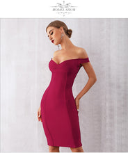 Load image into Gallery viewer, Off Shoulder Red Midi