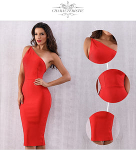 One Shoulder Red Bodycon