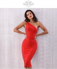 Load image into Gallery viewer, One Shoulder Red Bodycon