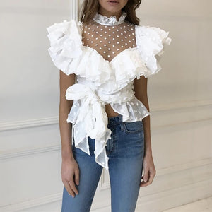 Polka Dot Chiffon Crop Top - Available in Three Colors