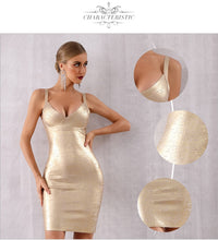 Load image into Gallery viewer, Gold Bandage Dress