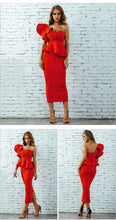 Load image into Gallery viewer, Two Piece One Shoulder Ruffle Top and Pencil Skirt