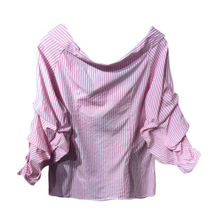 Off Shoulder Puff Sleeve Button Up - Available in Five Colors