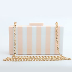 Stripped Acrylic Evening Clutch with Chain
