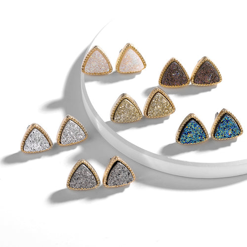 Druzy Triangle Studs - Six Colors Available