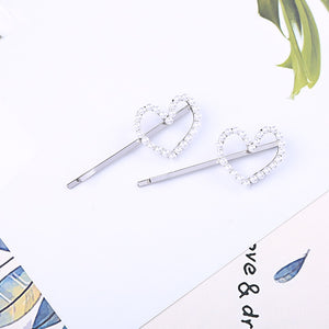 Two Piece Heart Hair Pins - Available in SILVER and GOLD