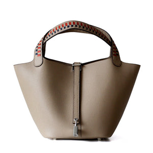 Women Genuine Leather Basket Bag - Five Colors Available