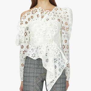 Floral Lace and Ruffle Top - Available in Two Colors