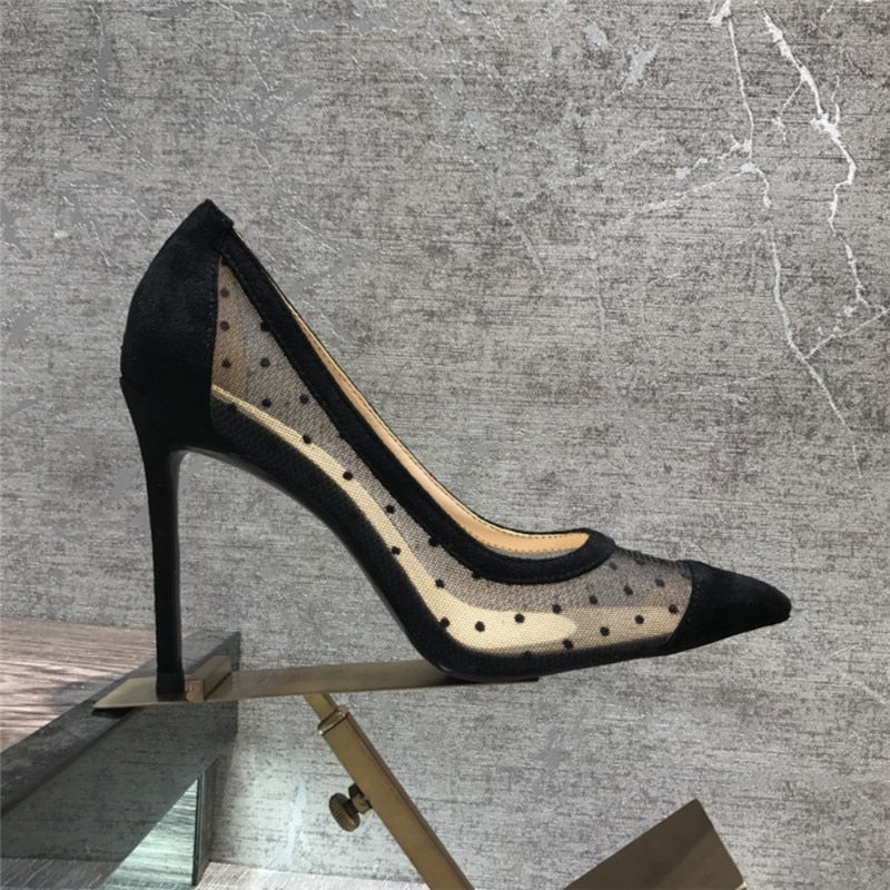 Mesh Polka Dot Pump - Available in 10cm + 8cm