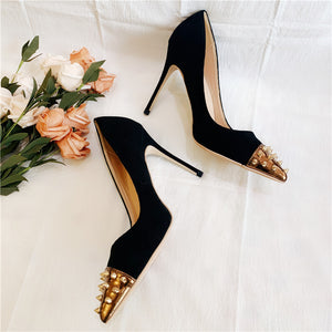 Black Gold Spiked Toe Pumps Available in Three Heel Heights - 12cm 10cm 8cm