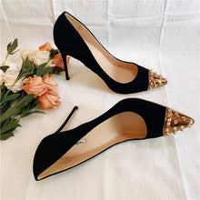 Load image into Gallery viewer, Black Gold Spiked Toe Pumps Available in Three Heel Heights - 12cm 10cm 8cm