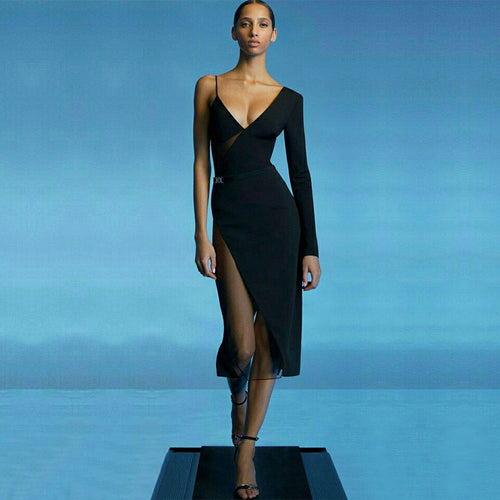 Mesh asymmetrical dress