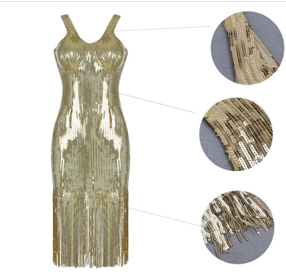 Gold Sequin Fringe Dress