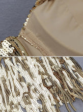 Load image into Gallery viewer, Gold Sequin Fringe Dress