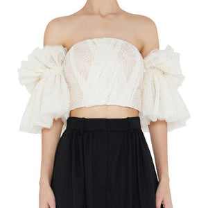 Off Shoulder Embroidered Ruffle Top