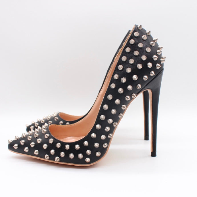 Black Leather Studded Pumps Available in 12cm 10cm 8cm Heel