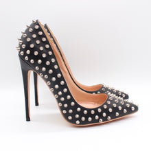 Load image into Gallery viewer, Black Leather Studded Pumps Available in 12cm 10cm 8cm Heel