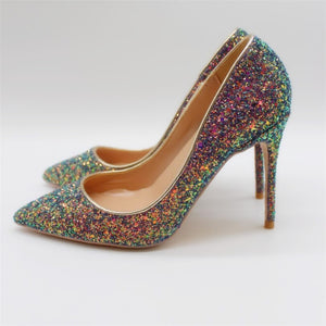 Multi Colored Glitter Pumps Available in Three Heel Heights