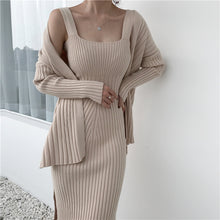 Load image into Gallery viewer, Long Sleeved Cardigan + Sweater Dress Set - Two Colors Available