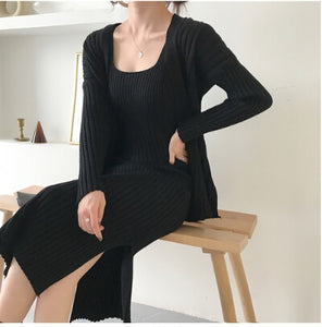 Long Sleeved Cardigan + Sweater Dress Set - Two Colors Available